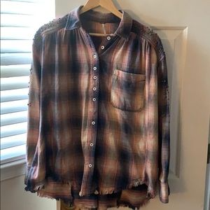 Free People Flannel w/ Embellishments and Fraying